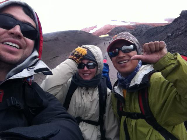 Ecuador, 2012. I'm climbing Cotopaxi volcano - almost 1km up on foot with crampons and ice axes. The snowy top of the mountain is barely seen from here, covered with clouds