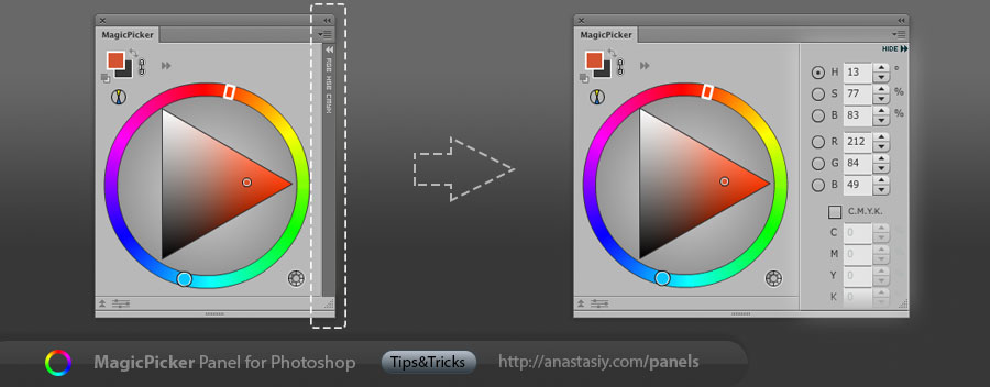 MagicPicker - expanding HSB/RGB values for color wheel and color picker