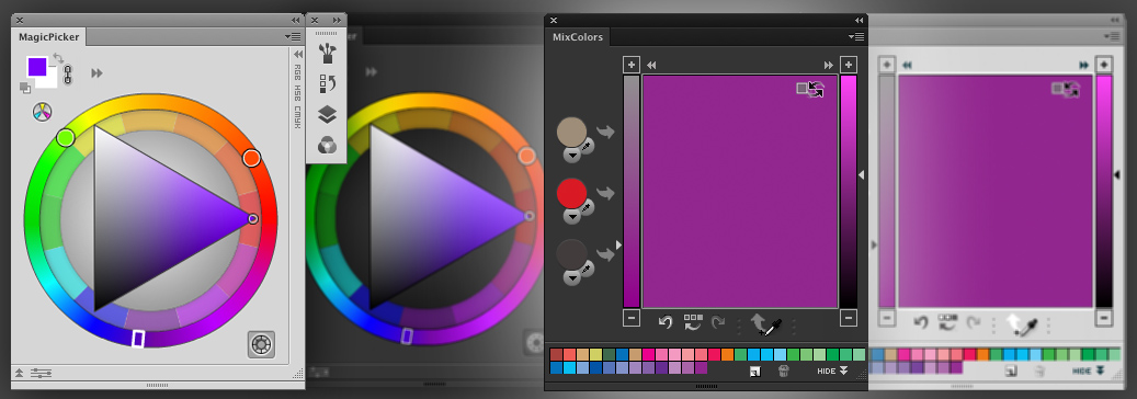 Traditional Color Wheel and Color Mixer panels in Photoshop