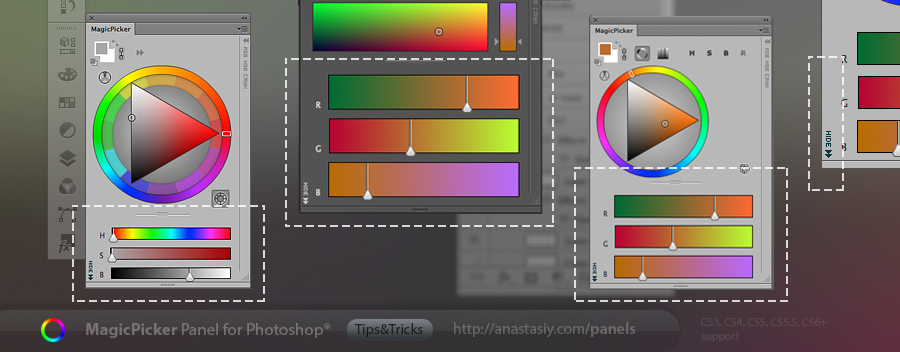 RGB/HSB sliders in MagicPicker color wheel panel for Photoshop