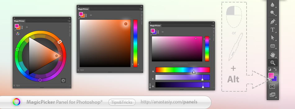 MagicPicker color wheel - press ALT to choose background color