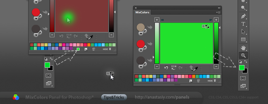 Two modes of blending colors in Photoshop with MixColors