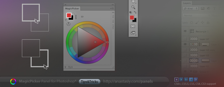 Background color picking in MagicPicker color wheel panel