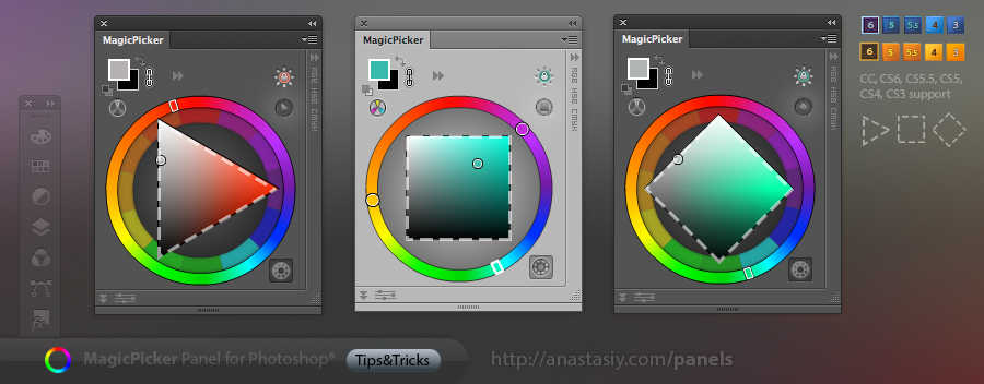 MagicPicker's Triangle, Box and Diamond modes of color wheel