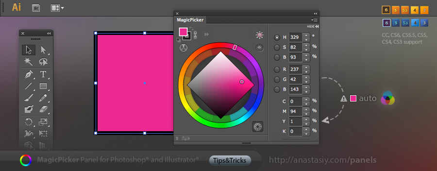 Adobe Illustrator - CMYK auto-correction in MagicPicker color wheel and picker panel