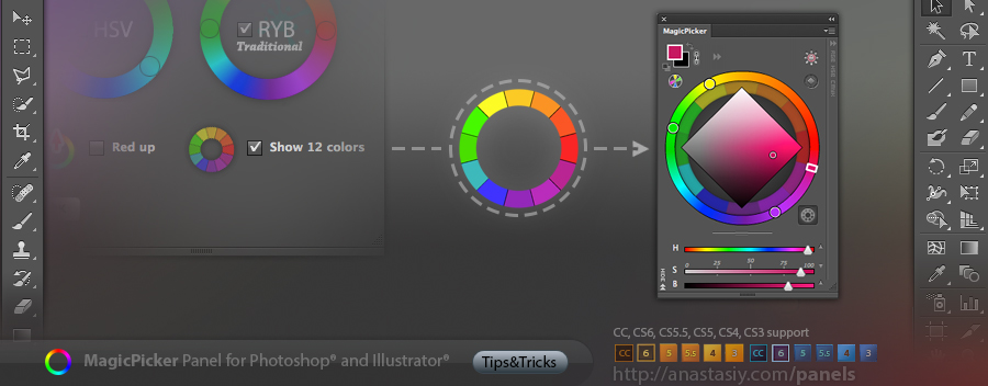 Show 12 basic colors in Traditional Color Wheel (RYB) mode