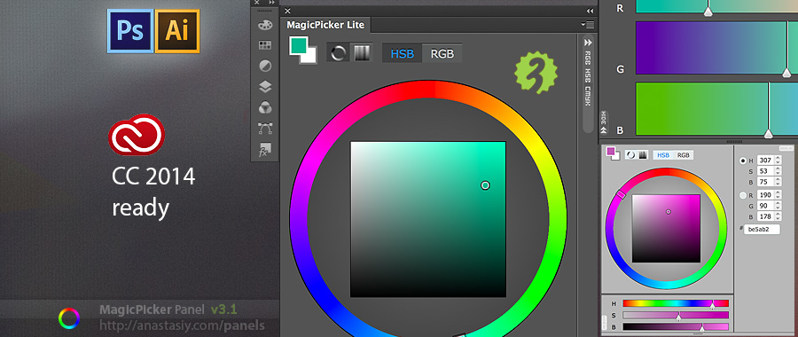 MagicPicker color wheel support for Illustrator Photoshop CC 2014