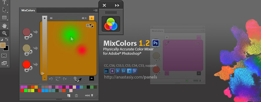 MixColors 1.2 update - improved mixing algorithm, new UI, better CC support