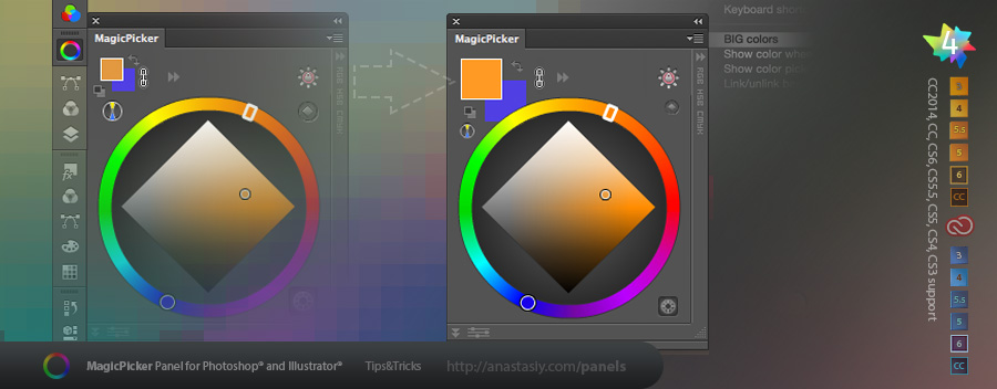 MagicPicker color wheel - BIG color swatches