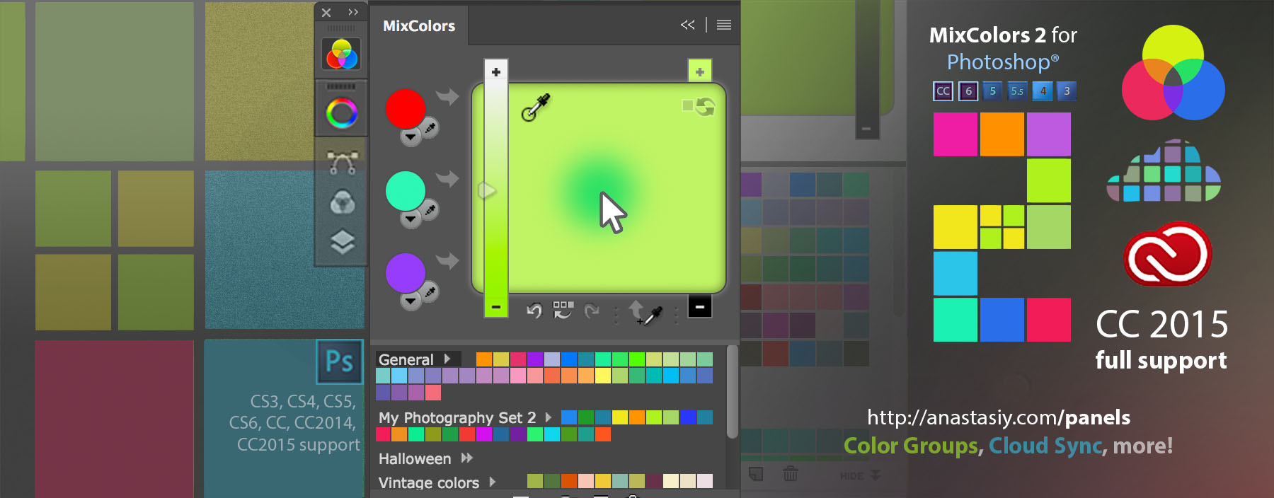 MixColors 2.0 for Photoshop with Swatch Colors Groups, Cloud Sync