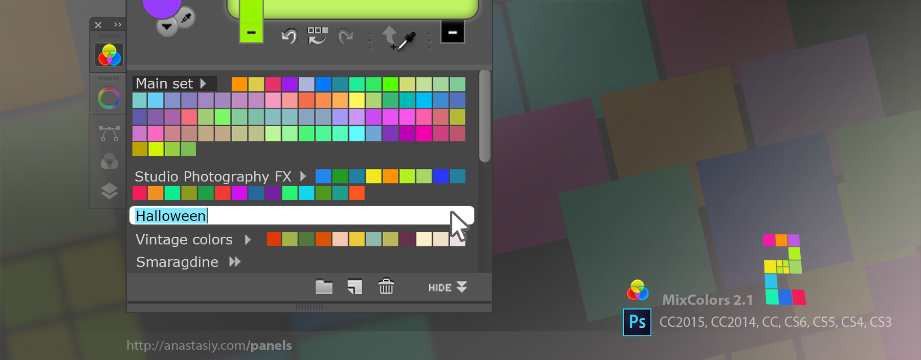 MixColors 2.1 improves color swatch groups renaming and more