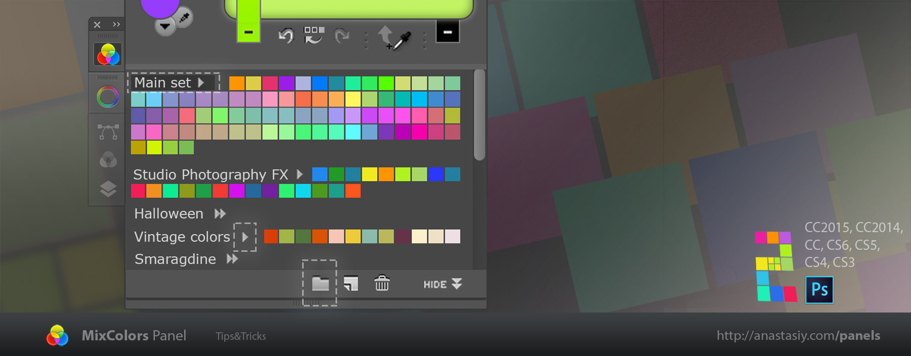 MixColors panel with swatch color groups in Photoshop