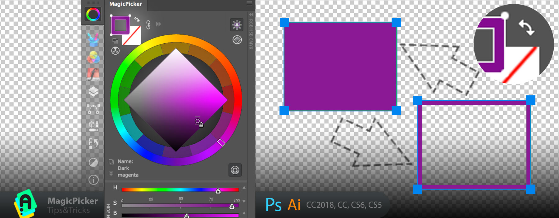 Exchange transparency with color for vector shapes