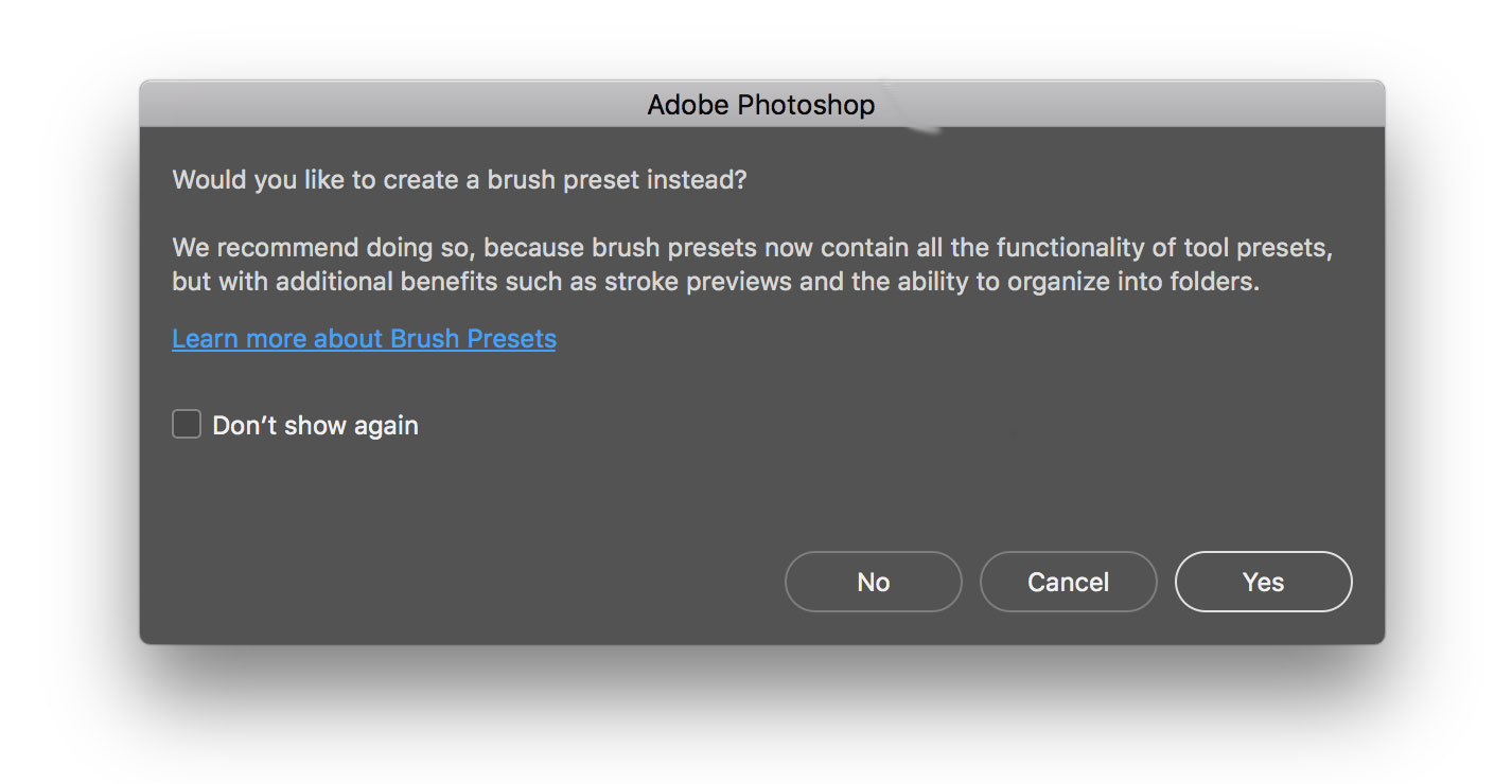 'Would you like to create a brush preset' dialog