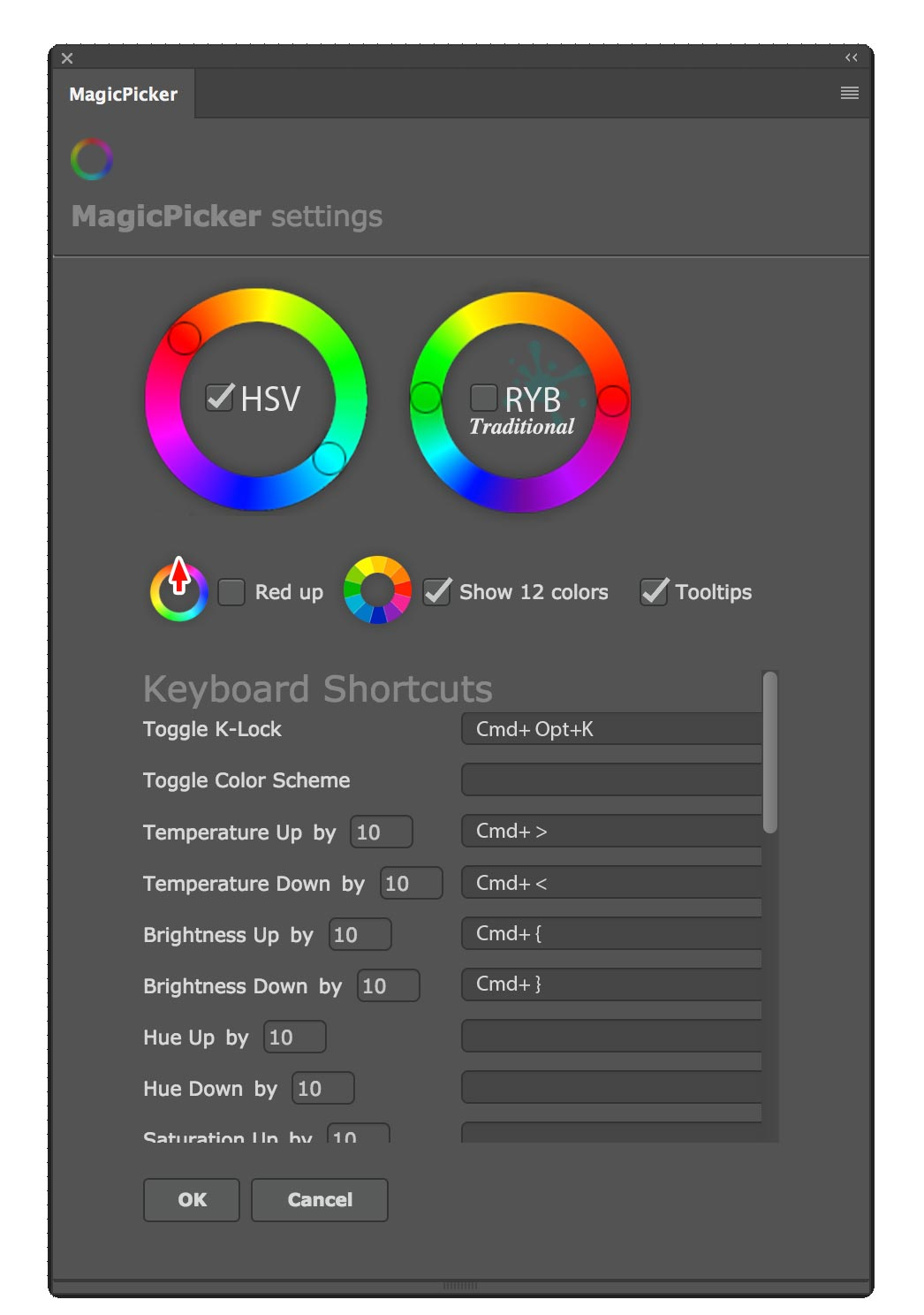 MagicPicker - assign keyboard shortcuts
