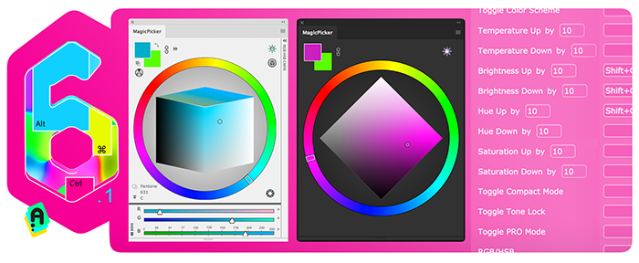 MagicPicker 6.1 improves keyboard shortcuts on color wheel