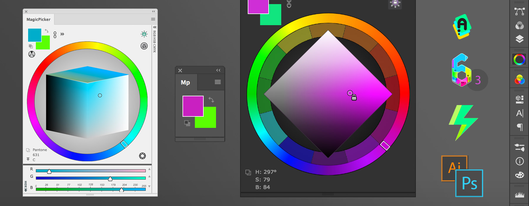 MagicPicker 6 color wheel panel for Photoshop and Illustrator