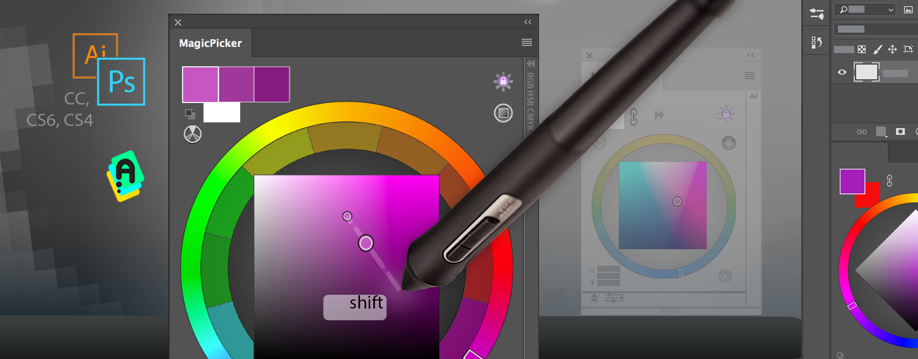 Shift+click moves color wheel pointer towards cursor and allows to slightly change current color with precision