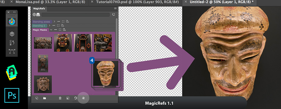 MagicRefs 1.1 update: insert images from panel back into Photoshop document