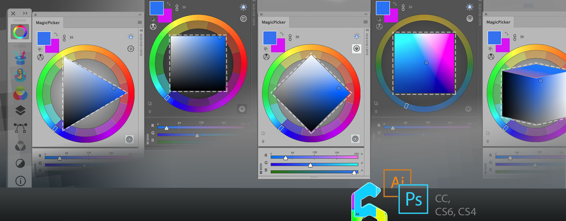 Color Wheel Modes in MagicPicker 6 for Adobe Photoshop & Illustrator