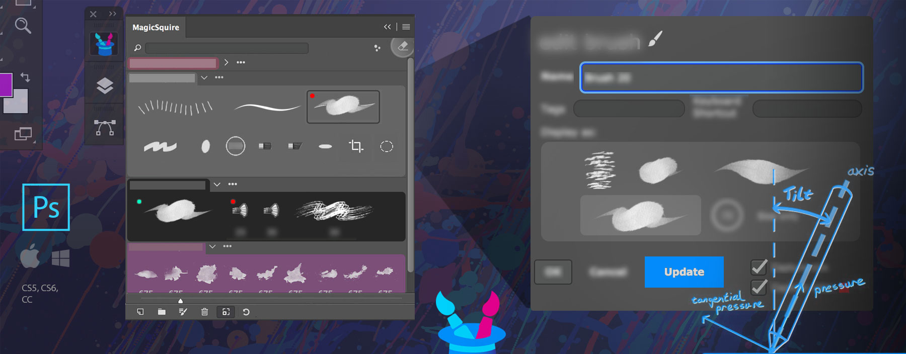 Update brush parameters in Photoshop with MagicSquire