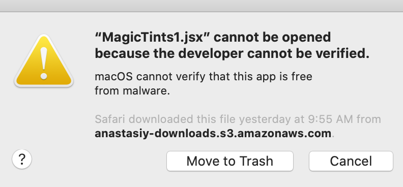 MagicTints macOS Catalina error fix