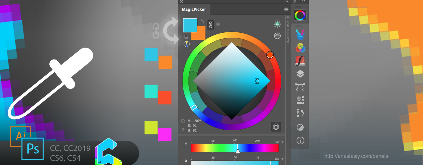 Keep linked background to foreground w/eyedropper in MagicPicker color wheel