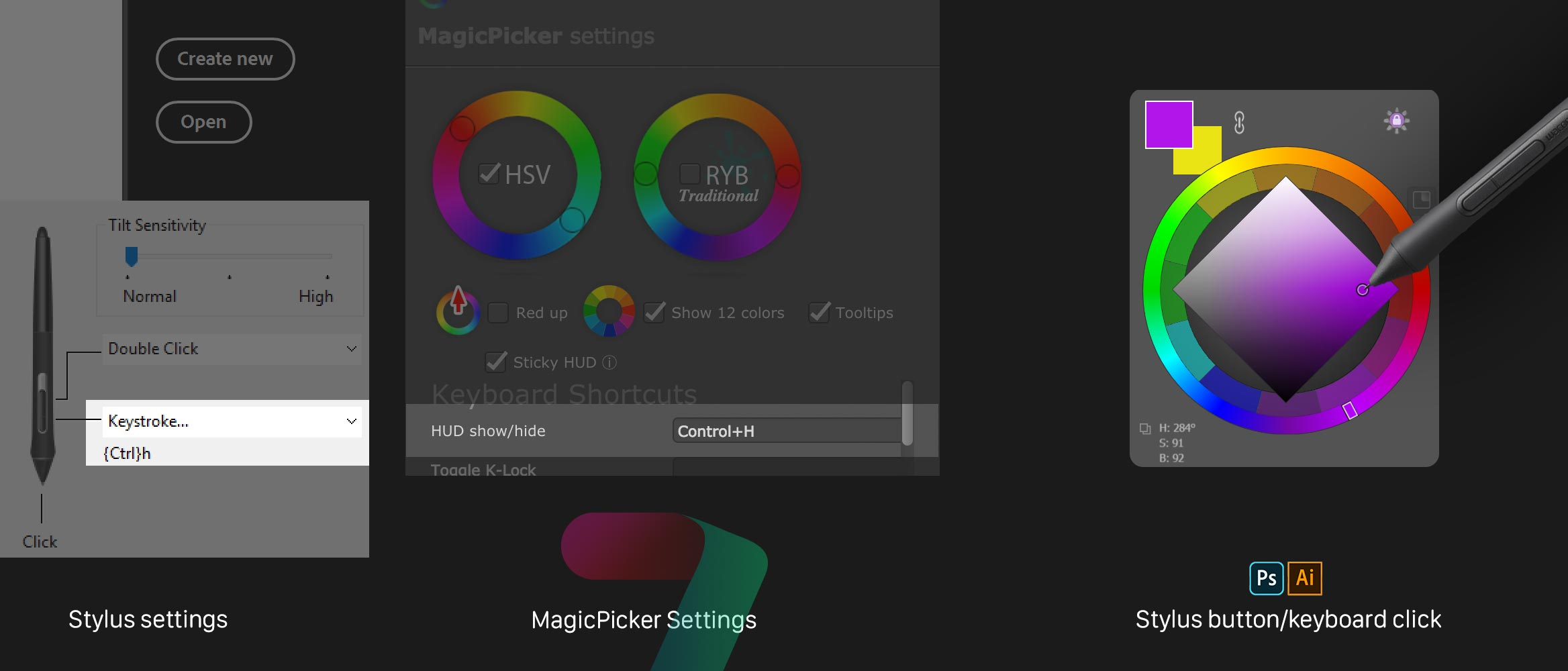 MagicPicker Color Wheel HUD popup setup in Photoshop and Illustrator (Keyboard and Stylus settings)