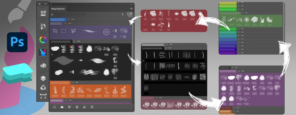 MagicSquire: organizing groups of Photoshop brushes in Collections