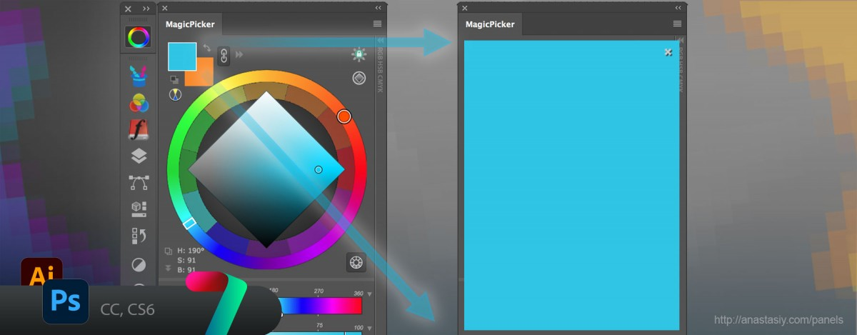 GIANT color preview in Photoshop with magicPicker color wheel panel